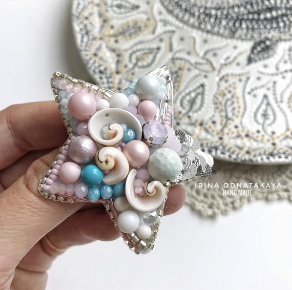 Large beaded brooch pin star in soft pink and blue colours with pearls and shell Sea life embroidered luxury jewelry Tropical star fish pin