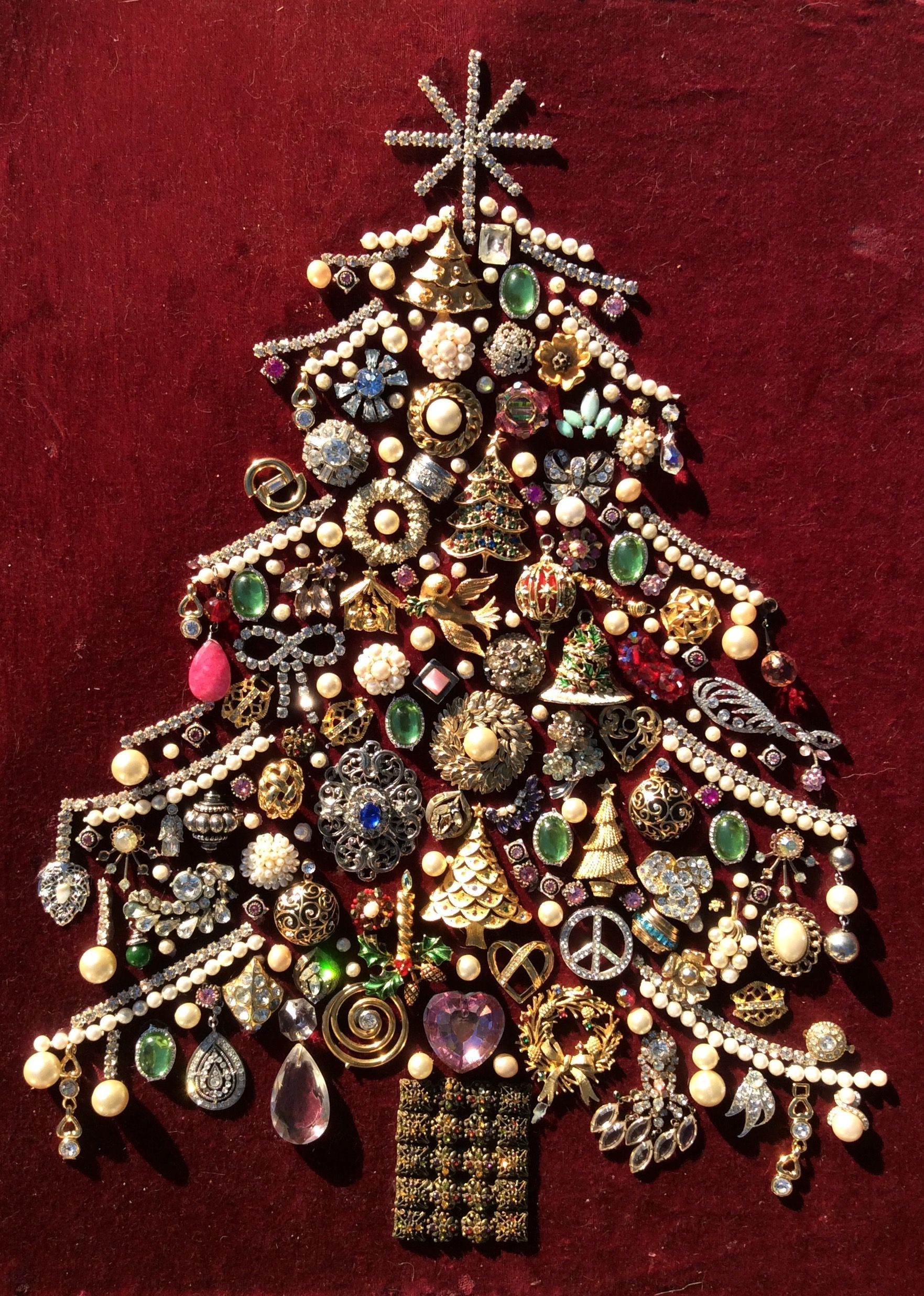 Large 21x 17 Christmas Tree Made From Old Costume Jewelry