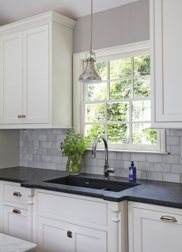 Grey Granite Kitchen Countertops crisp white custom cabinetry with beaded inset doors complements