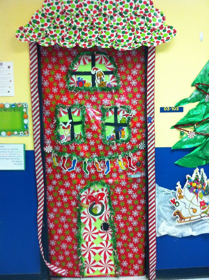 Festive Perppermint Candy Christmas Door  For The Classroom