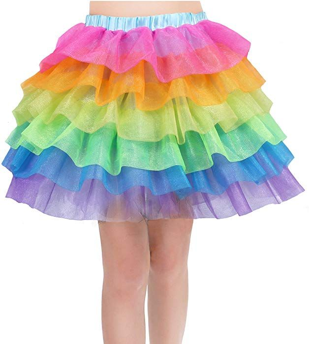 Rainbow Tutu Skirt for Women Unicorn Skirts Colorful Tulle Tiered Dancing  Petticoat for Party 12091cfa4
