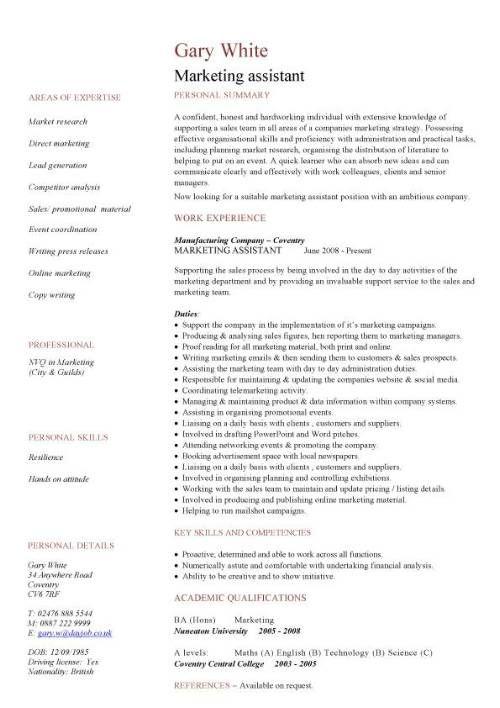 Marketing assistant CV sample CV Pinterest Sample resume