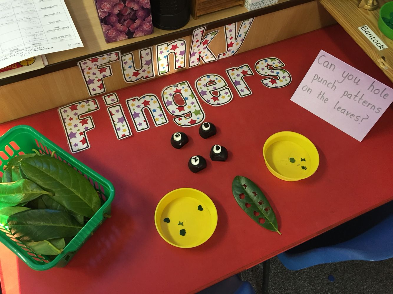Hole Punching Leaves On The Funky Fingers Table