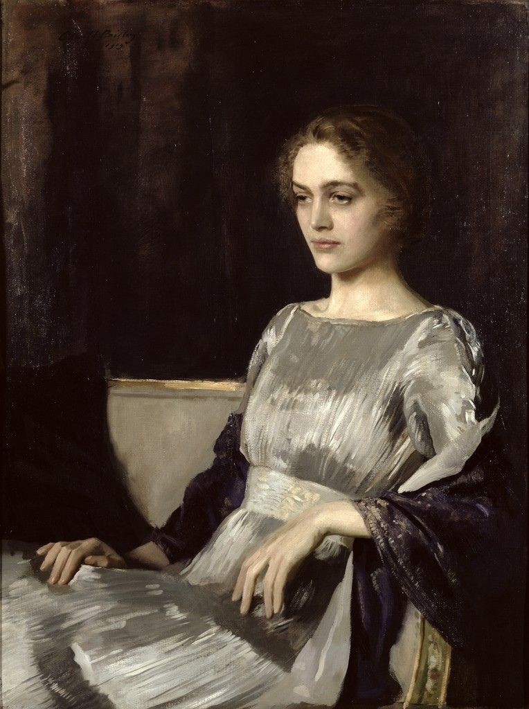 Miss Muriel Gore in a Fortuny dress, by Sir Oswald Hornby Joseph Birley, 1919