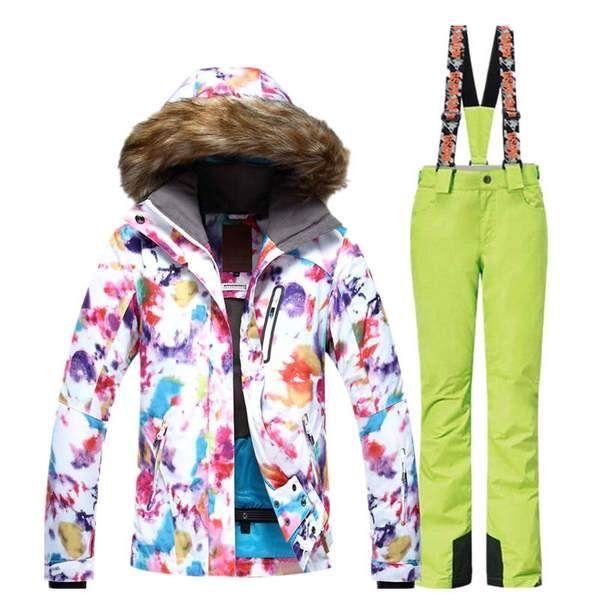 Gsou Snow Camo Ski Suit For Women  snowboard Jacket Yellow Pants Sets bbaa45e06