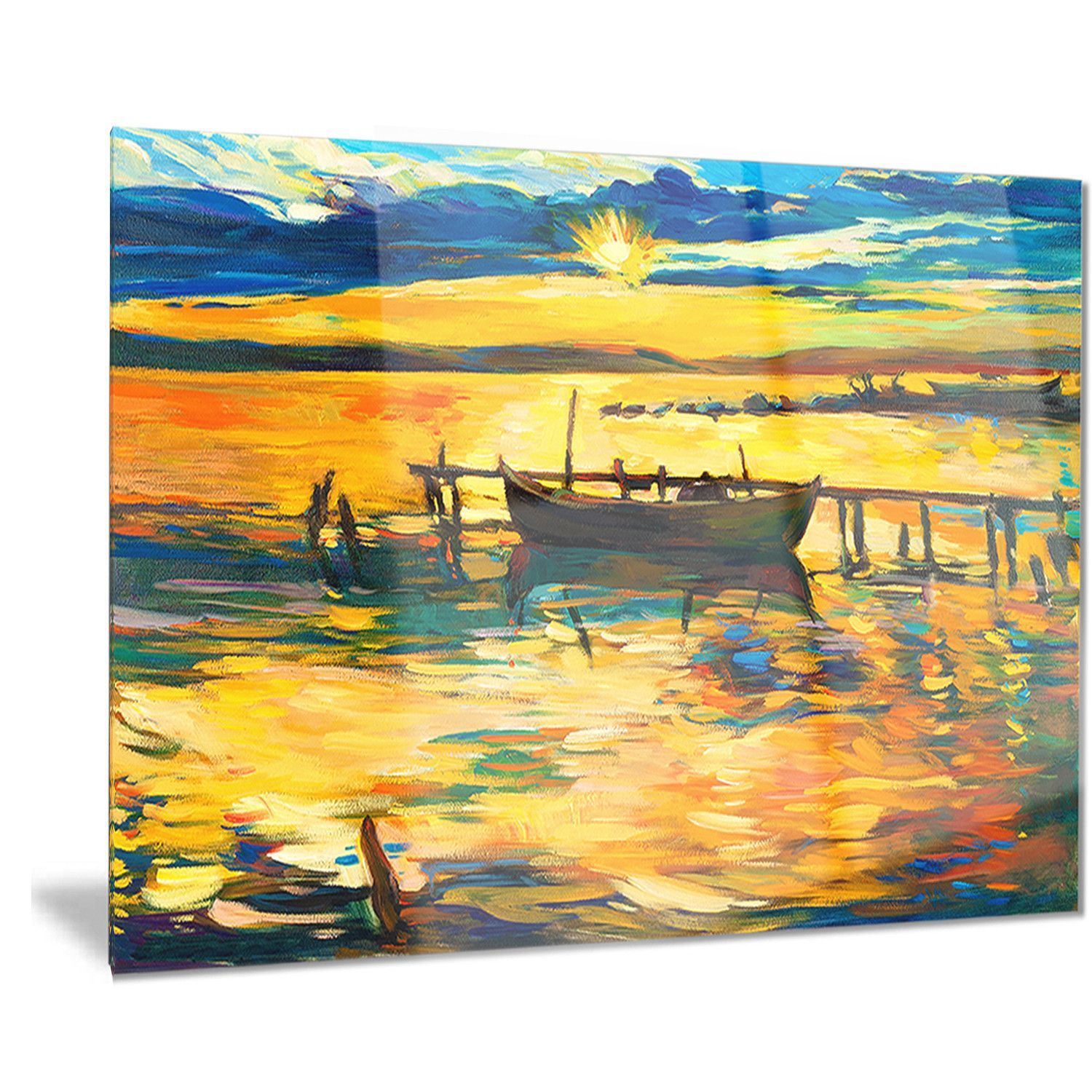 Designart \'Boat and Pier in Shade\' Seascape Painting Metal Wall Art ...