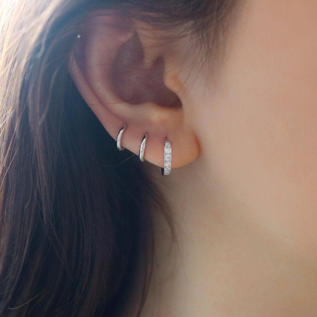 Tiny small large huggie hoop earring 3 sizes SWEETV 925 sterling silver hoop earrings for women girls