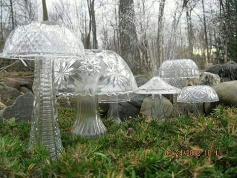Dollar store glassware. . Enchanted mushroom garden... cute idea.