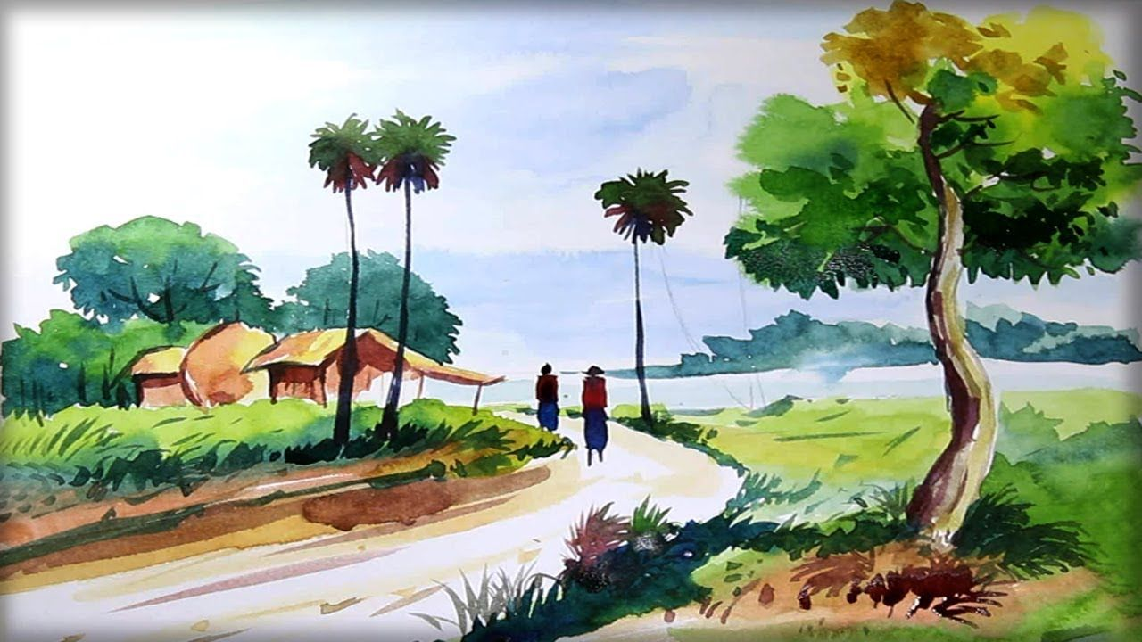 Watercolor Village Painting Landscape Nature Scenery Drawing