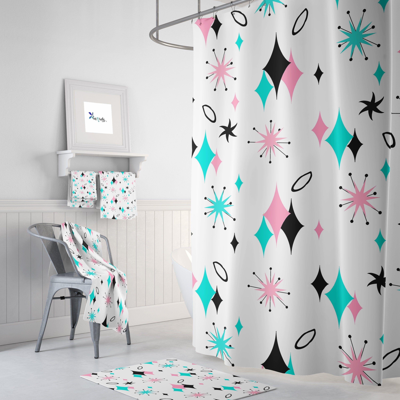 Mid Century Modern Shower Curtain Bath Towels Bath Mat Bathroom