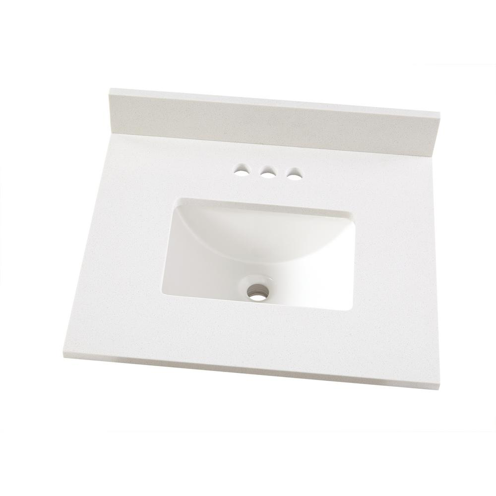Home Decorators Collection 25 In W X 22 In D Engineered Marble Vanity Top In Snowstorm With White Single Trough Sink 25203 Marble Vanity Tops Trough Sink Vanity Tops With Sink