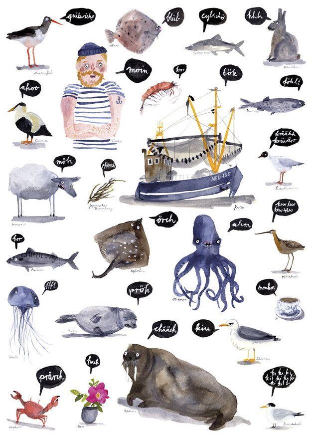Maritimes Poster, Illustration, Wohnung dekorieren / maritime print for sailors, home decor, seaside made by ...und hopp via DaWanda.com