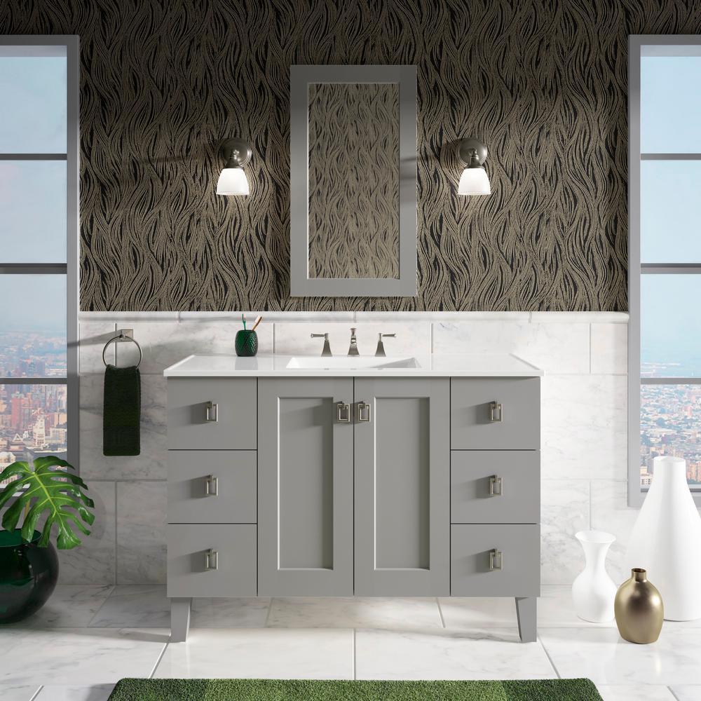 Kohler Poplin 48 In W Vanity In Mohair Grey With Marble Vanity Top In Carrara With White Basin 99535lgsd1wtst The Home Depot White Vanity Bathroom 30 Inch Bathroom Vanity Wooden Vanity [ 1000 x 1000 Pixel ]
