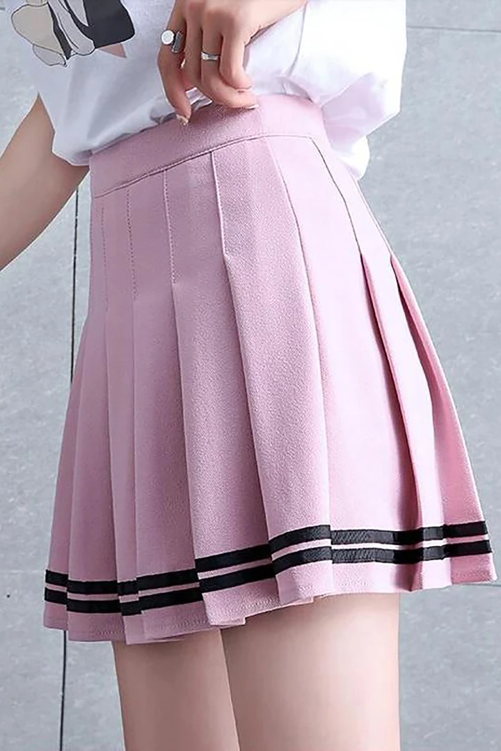 Serene Striped Pleated Mini High Waisted Tennis Skirt Glamanti Beauty In 2020 Tennis Skirt Outfit Womens Fashion Preppy High Waisted Skirt
