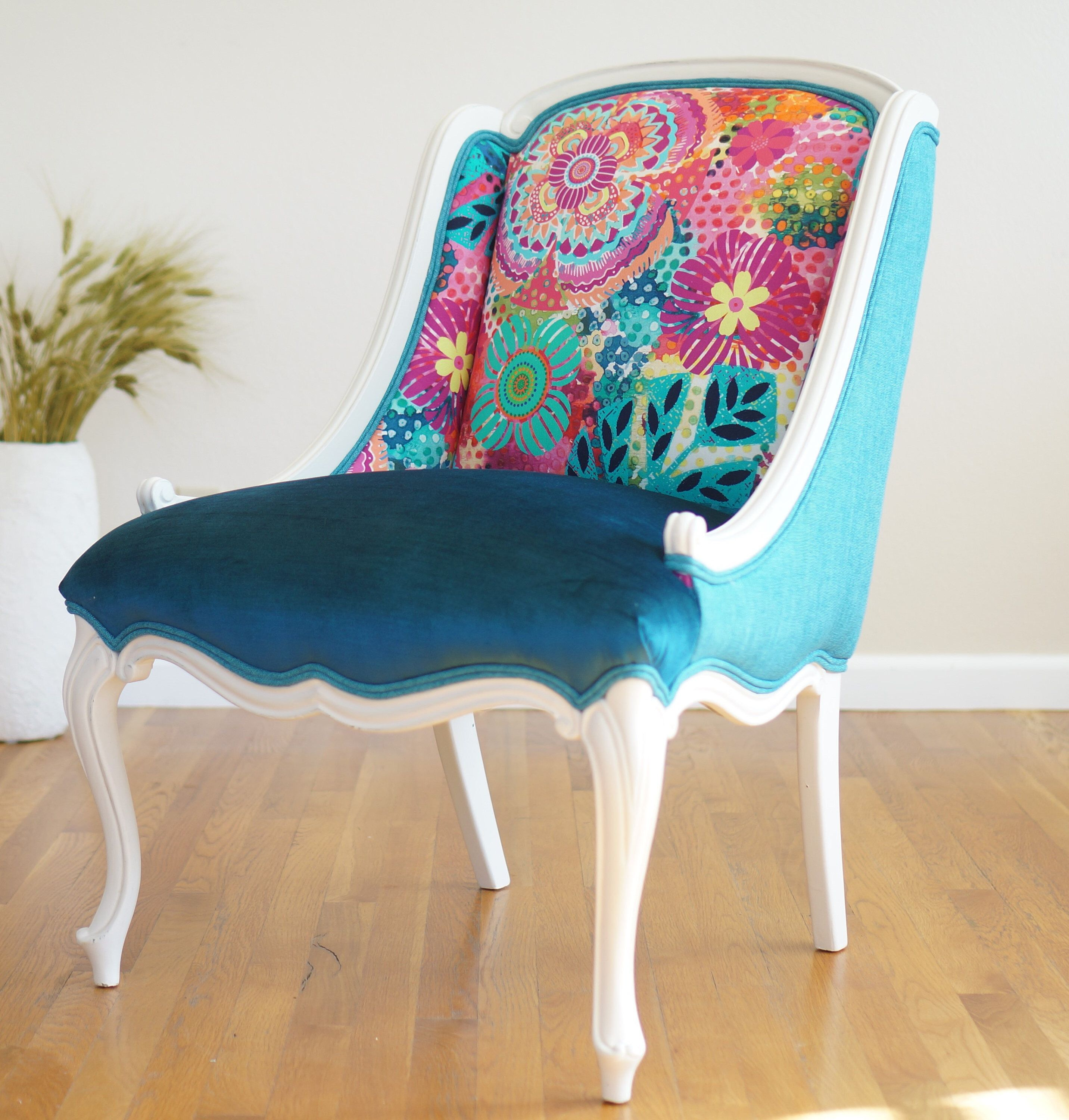 Available eclectic vintage french provincial chair