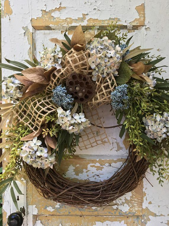 Fall Blue Hydrangea Wreath, Fall Wreath, Autumn Wreath This Unique Rustic  Wreath Can Be Hung Up Now And Left Up All Through Fall.