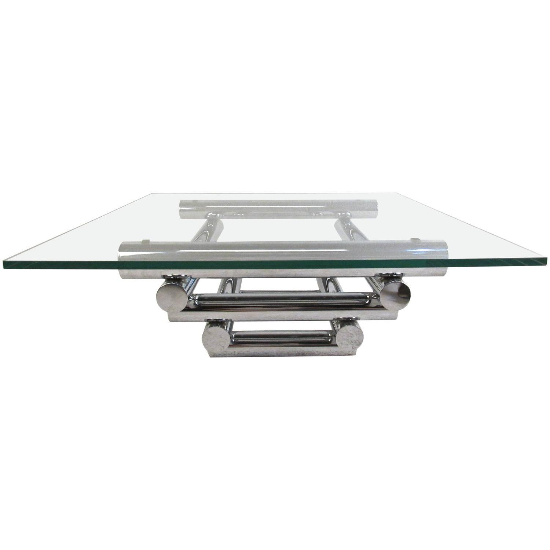 Mid century modern tubular chrome coffee table in the style of mid century modern tubular chrome coffee table in the style of paul mayen geotapseo Images