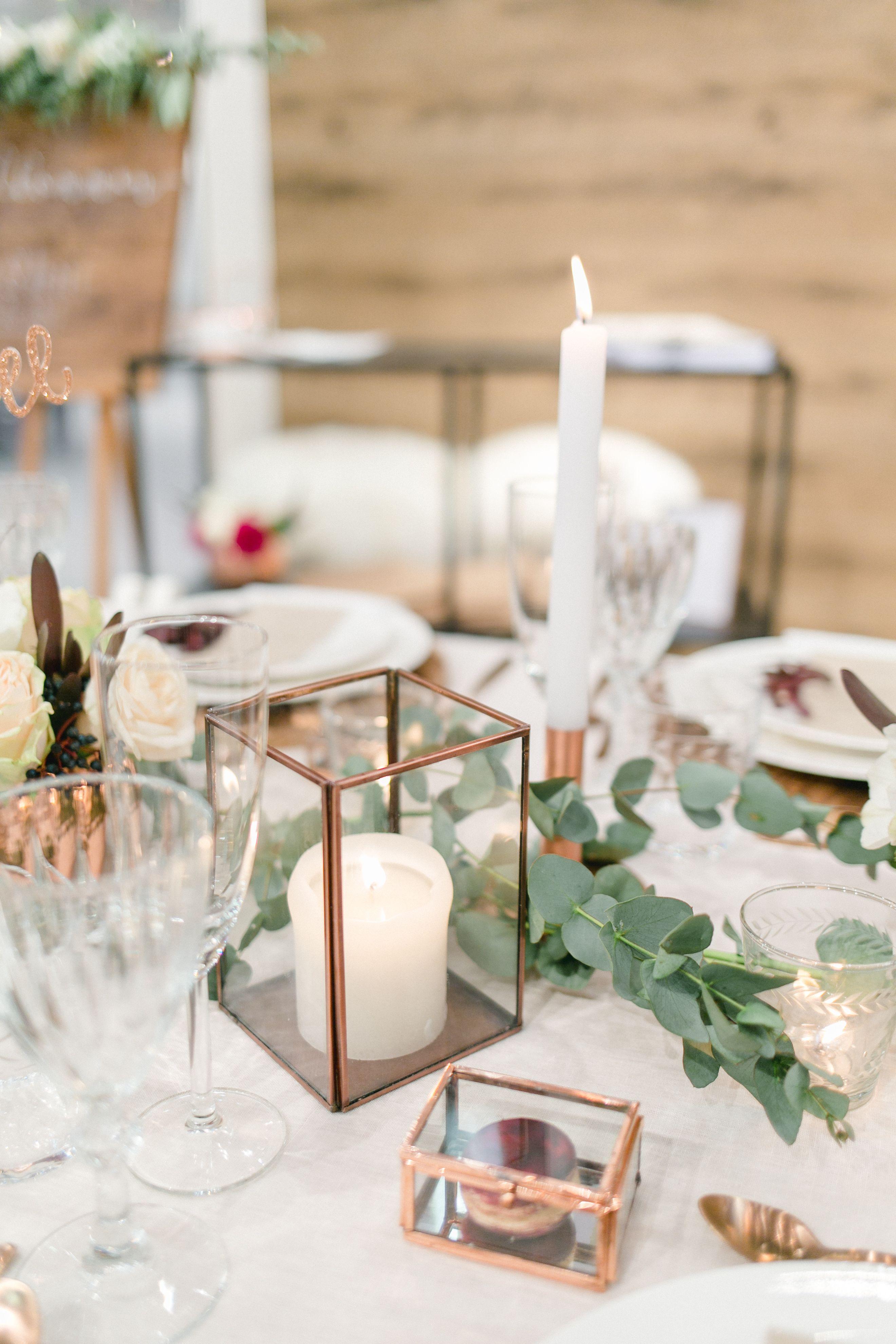 Dekoration  Tischdeko  Kupfer  rustikal  Hochzeit  Blumen  Kerzen  Eukalyptus  Macaron