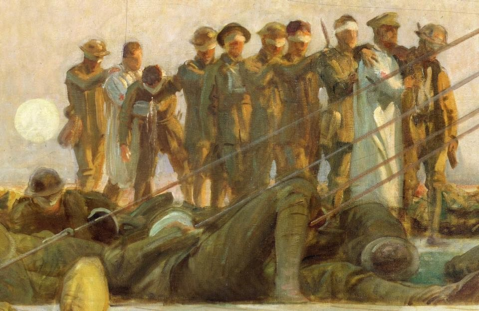 WWI LONDON HOSPITOL SURGERY ON SOLDIER PAINTING HISTORY ART REAL CANVAS PRINT