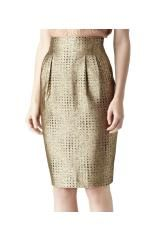 Reiss Inverted Pleat Pencil Skirt in Gold - Lyst