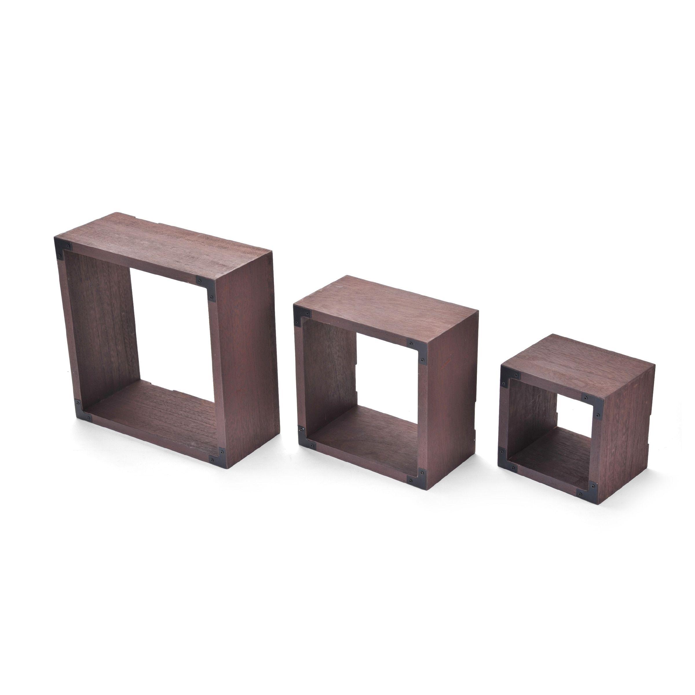 Melannco Set of 3 Distressed Dark Square Cubes