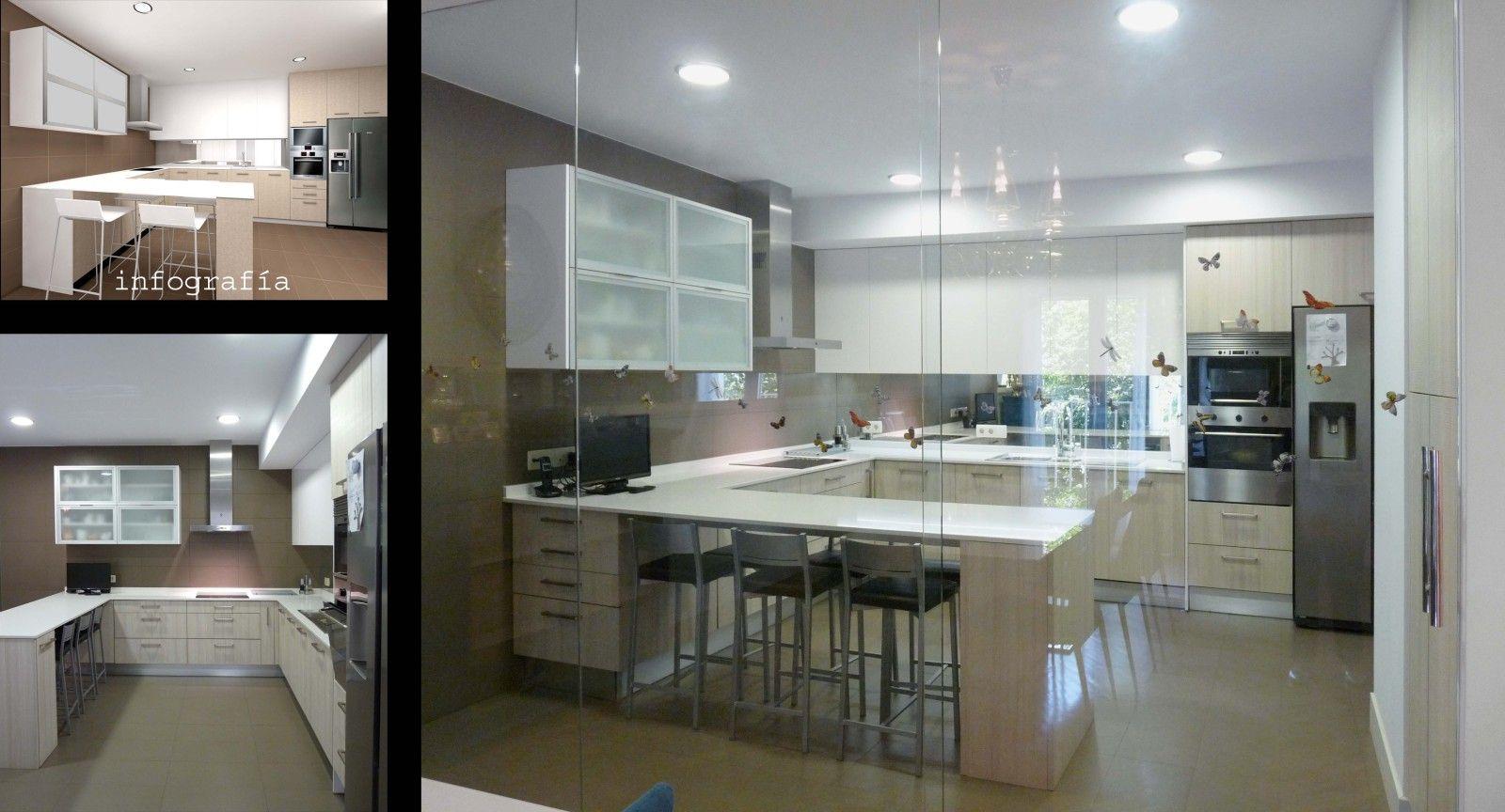 La cocina est separada del comedor por un mampara for Separacion de muebles cocina comedor