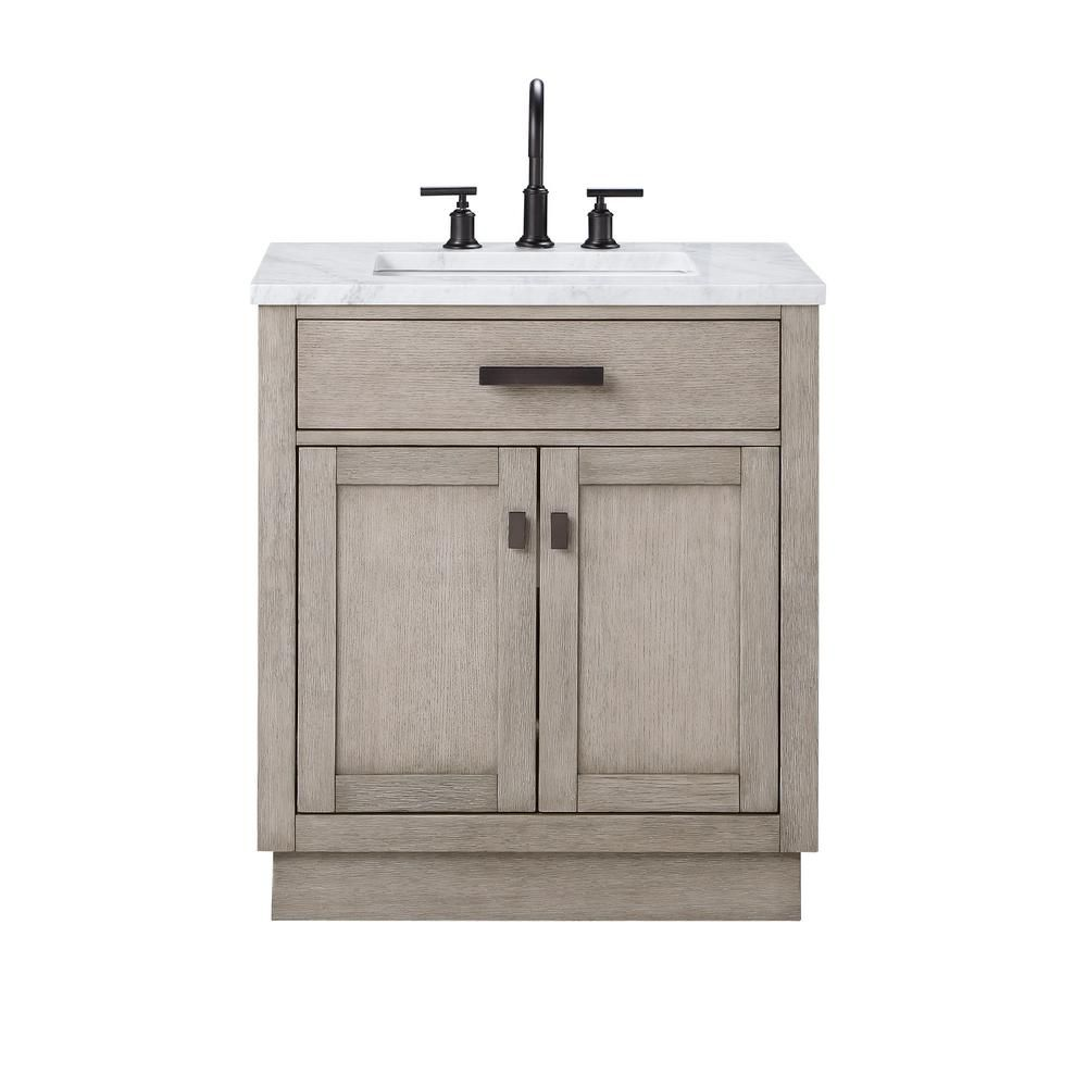 Water Creation Chestnut 30 In W X 21 5 In D Vanity In Grey Oak With Marble Vanity Top In White With White Basin Ch30c 0314gk The Home Depot In 2020 Marble Vanity