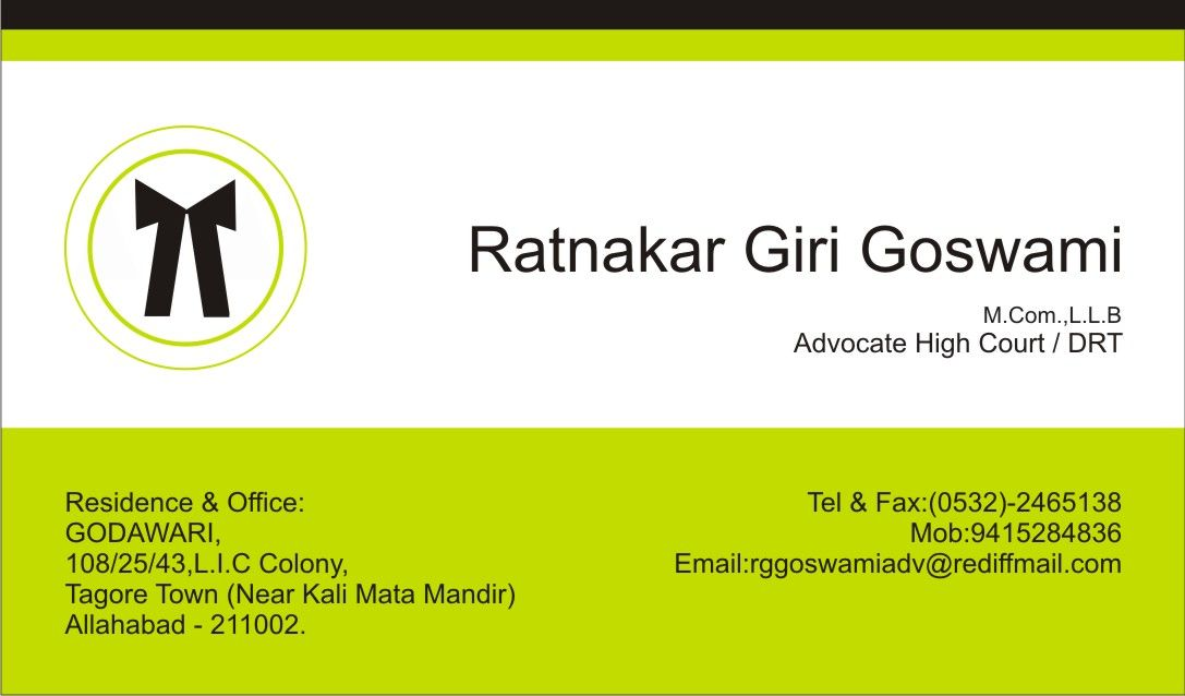 Visiting Card Design for an Advocate,High Court in India