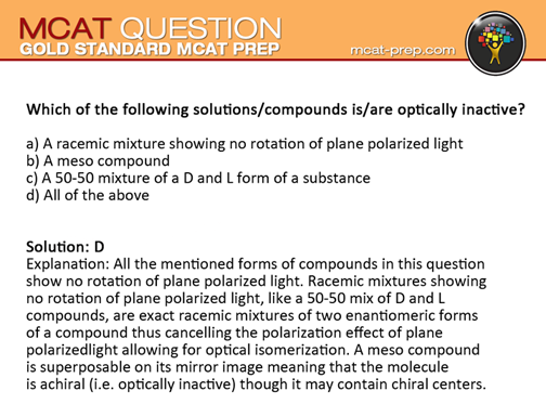 Gold Standard Mcat Practice Test Question With Answer And
