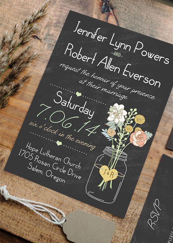 Boho Rustic Wedding Invitations Mason Jars Heart Chalkboard Ewi369 As Low As 0 94 Mason Jar Wedding Invitations Vintage Wedding Invitations Wedding Invitations Rustic