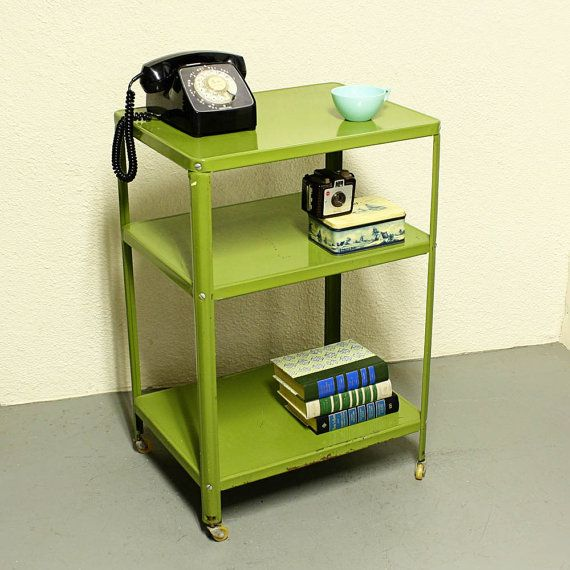 Vintage Metal Cart Serving Cart Kitchen Cart Red: Vintage Metal Cart - Serving Cart - Kitchen Cart - Green - Wheels - 3 Shelf