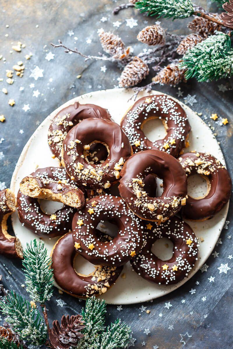 Baked Peanut Butter Banana Donuts Are Vegan Glazed With Dark