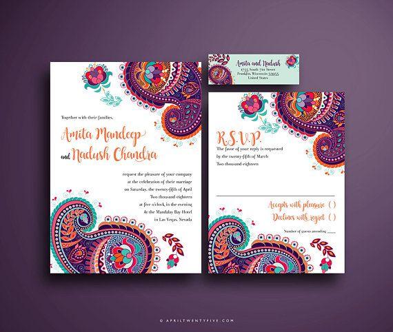 Indian Wedding Invitation Colorful And Festive Pink Purple Turquoise And Orange Paisley Design Indian Wedding Invitations Colorful Invitations Wedding Invitations