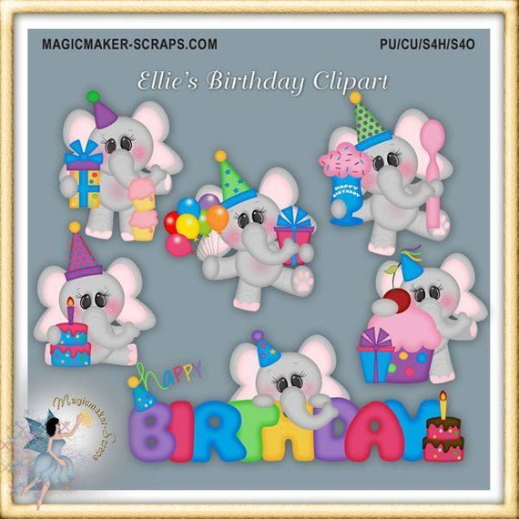 Birthday Clipart, Elephant Party, Ellie's Birthday ...