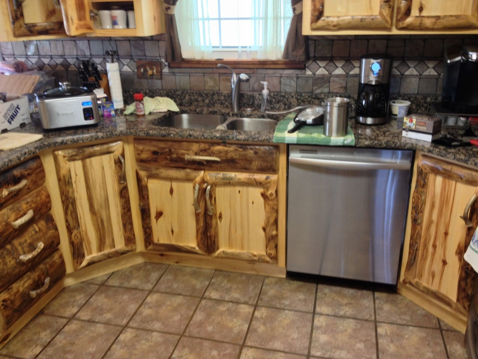 Rustic Aspen Log Kitchen Cabinets And Built In Wall Spice Rack