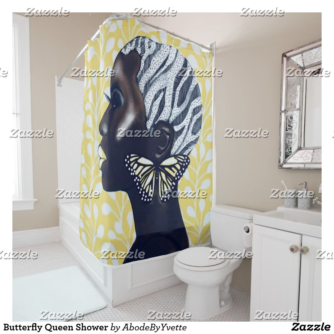 Butterfly Queen Shower Shower Curtain Zazzle Com With Images Fabric Shower Curtains Shower Curtain Curtains