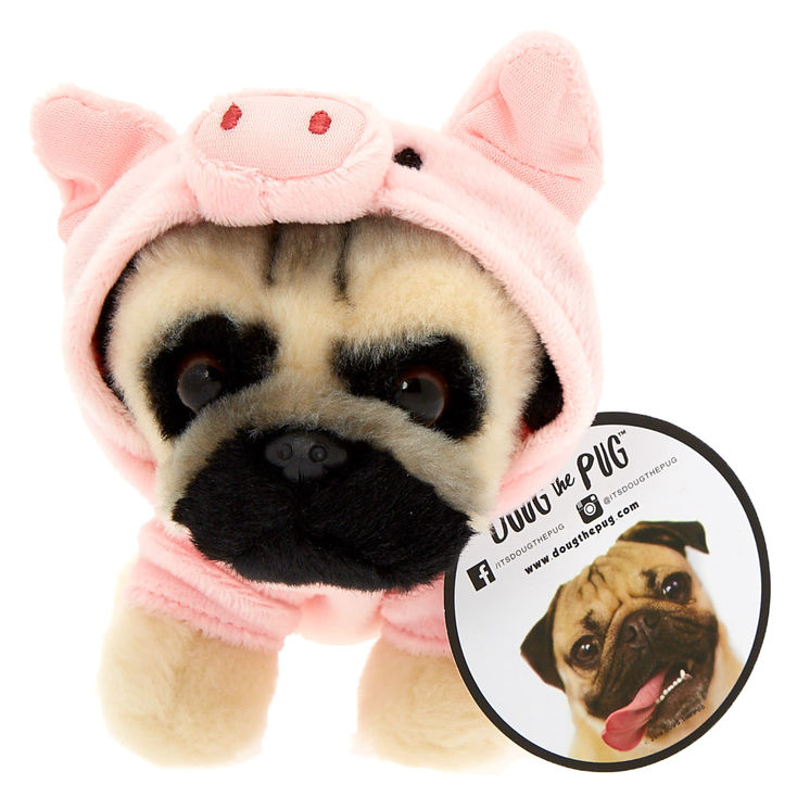 Doug The Pug Pig Hoodie Small Plush Toy Cream Doug The Pug