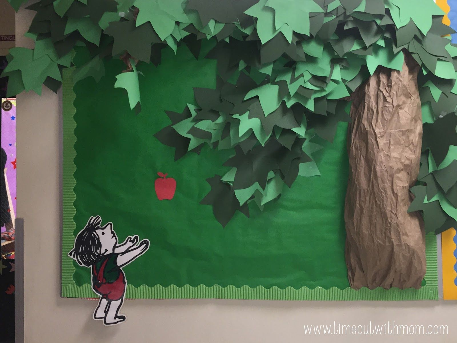 Go green vegetable bulletin board idea myclassroomideas com - Timeout With Mom The Giving Tree Bulletin Board