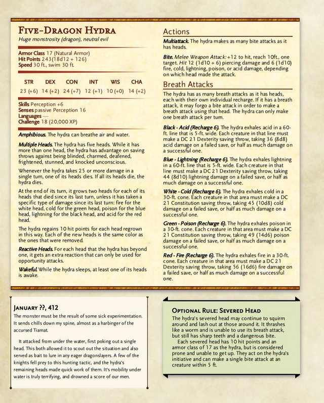 FiveDragon Hydra Dnd monsters, Dnd stats, Dungeons