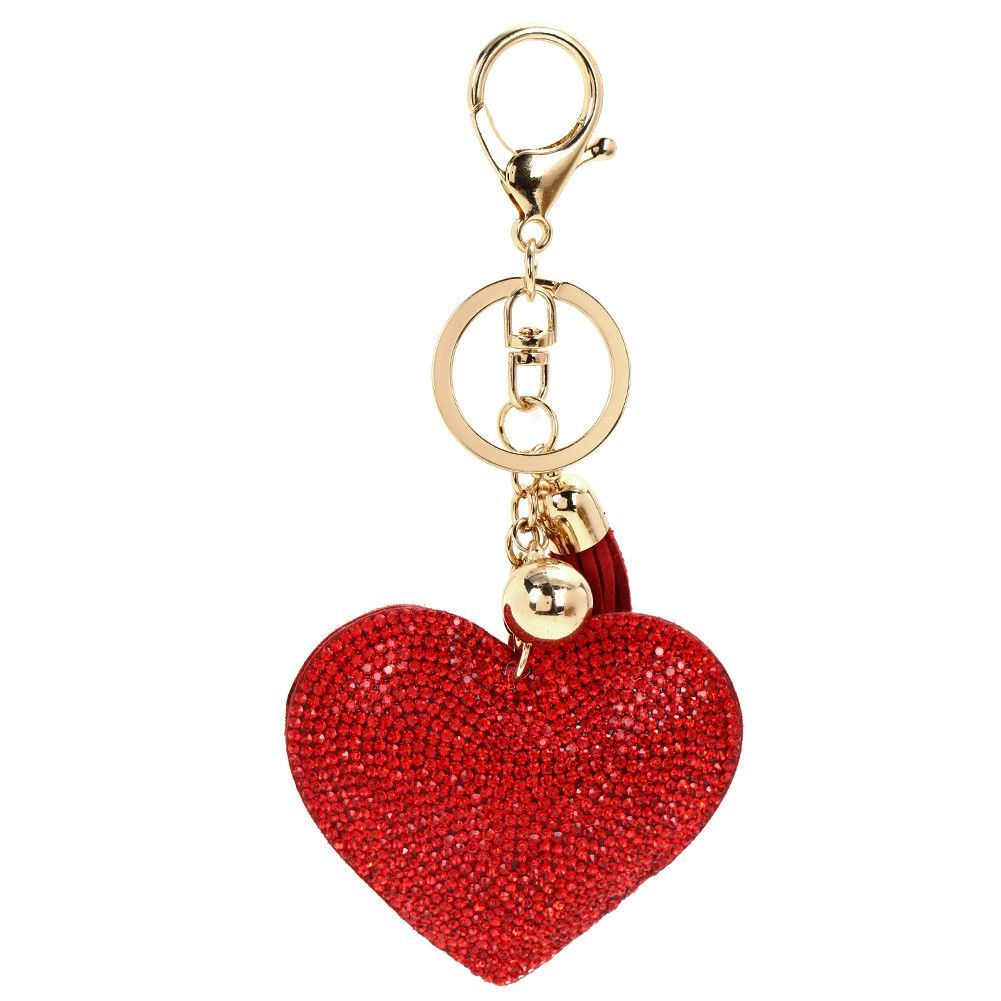 Keychain For Bag Key Holder Love Heart Rhinestone Pendant  Keychain Key Ring