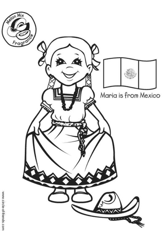 Mexicaans Meisje Flag Coloring Pages Coloring Pages Mexico Crafts
