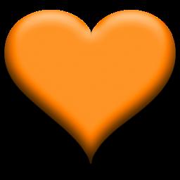 Puffy Heart Orange Icon Coracao
