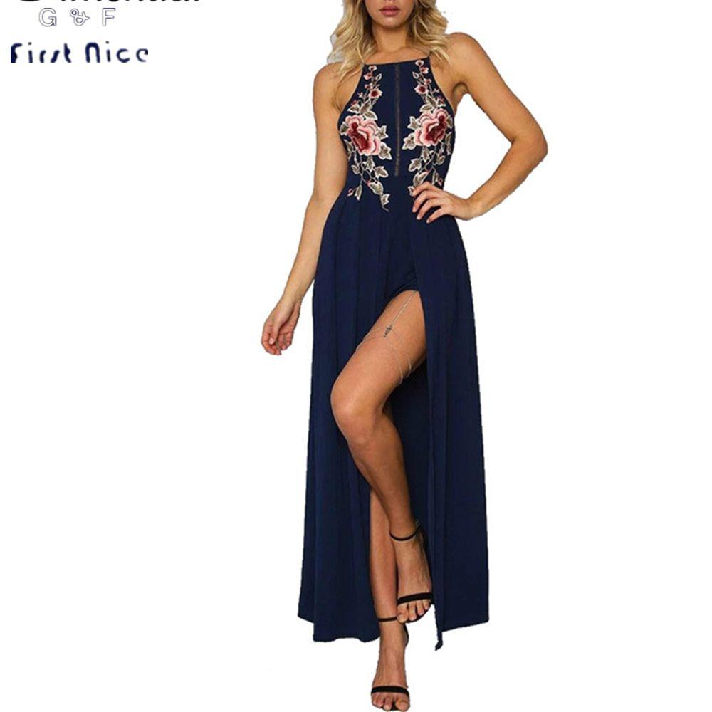 Women long dresses summer new fashion spaghetti strap flower