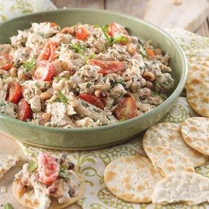 Ingredients  4 cups shredded smoked chicken 1 (15-ounce) can black-eyed peas, drained and rinsed 8 ounces grape tomatoes, halved