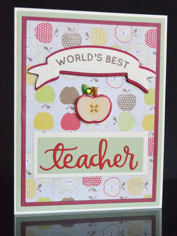 Handmade Worlds Best Teachers Thank You Card With Apple Theme