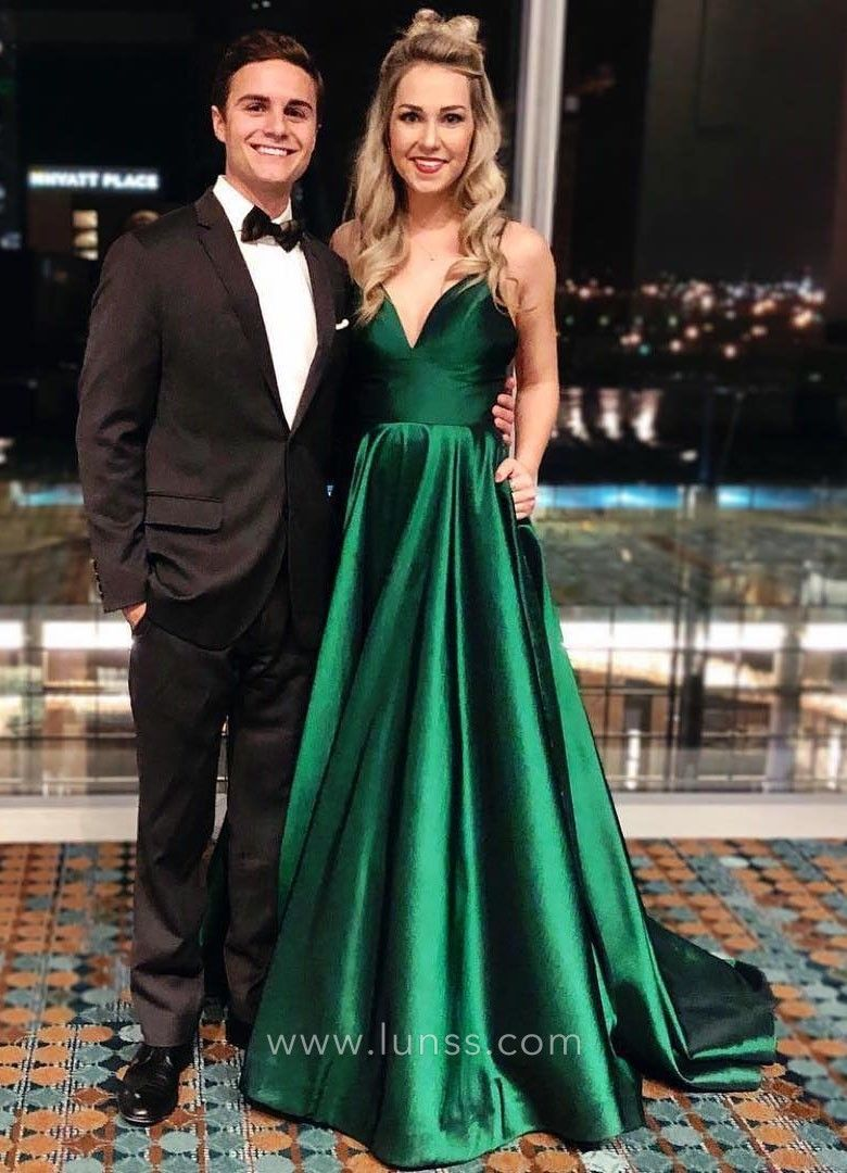 4d58c916e43 Beautiful green satin V neck spaghetti strap floor length A line prom dress