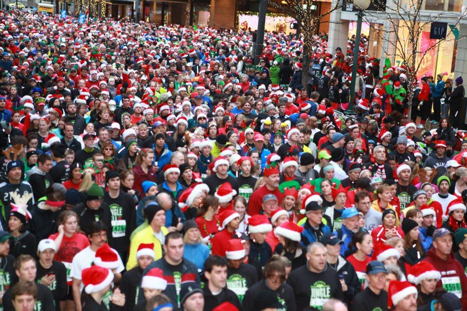 The Annual Jingle Bell Run commences this Sunday, December 8, 2013 at Westlake Center - Downtown Seattle.
