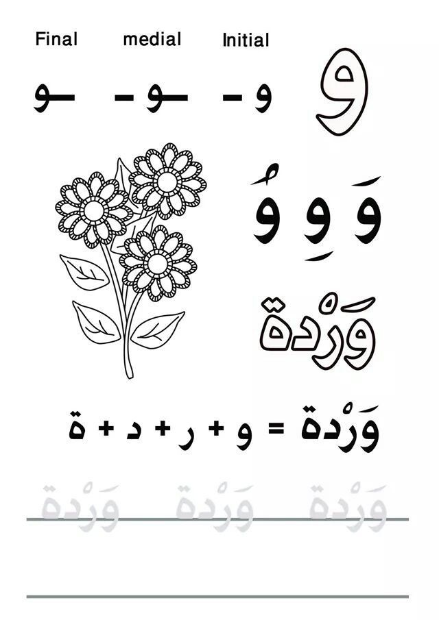 My First Letters And Words Practicelearnarabic حرف الواو حرف الواو Ce1 Safaa Alphabet Worksheets Preschool Alphabet Worksheets Cursive Writing Worksheets