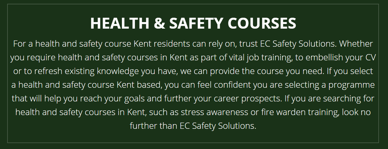 Health and Safety Course Kent Health, safety, Safety