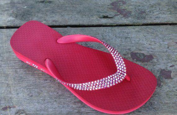 e6ebf73c14dcab Custom Red Crystal 1.5 Wedge Flip Flops w  Swarovski Bling Light Siam AB  Cherry Cariris Brazilian Heel Bright Beach Shoes Glass Slippers